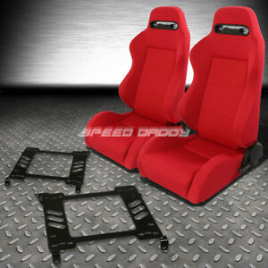 Pair Type r Red Reclinable Racing Seats bracket For 98 02 Honda Accord 2dr Coupe