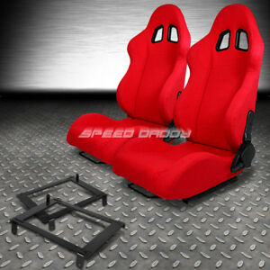 2 X Red Type F1 Reclinable Racing Seat Low Mount Bracket For 02 06 Dc5 Acura Rsx