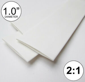1 0 Id White Heat Shrink Tube 2 1 Ratio 1 Wrap 3x8 2 Ft Inch feet to 25mm
