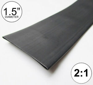 1 5 Id Black Heat Shrink Tube 2 1 Ratio 1 1 2 Wrap 2 Feet Inch ft to 40mm