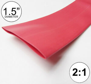 1 5 Id Red Heat Shrink Tube 2 1 Ratio 1 1 2 Wrap 2 Feet Inch ft to 40mm