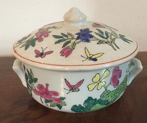Antique Chinese Style Porcelain Covered Soup Rice Sugar Bowl Famille Rose