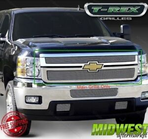 T rex Billet Series Polished Grille Fits 2011 2012 Chevy Silverado 2500 3500 Hd