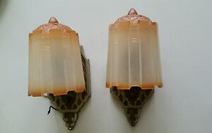 Two 2 Art Deco Slip Shade Wall Sconce Glass Shade Light Fixtures