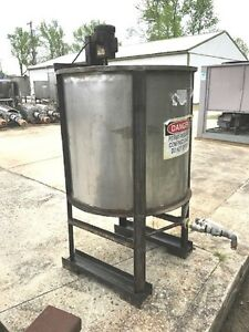 150 160 Gallon Stainless Steel Mix Tank W115 Volt Mixer 2 Outlet Cone Bottom