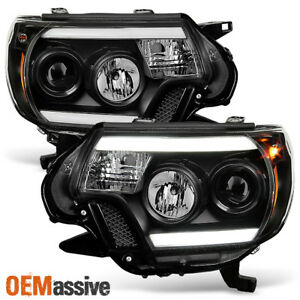 Fits 2012 13 14 2015 Toyota Tacoma Truck Black Drl Led Tube Projector Headlights