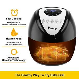 6 8qt Large Capacity Air Fryer W Lcd Screen And Non stick Coating 1800w Black