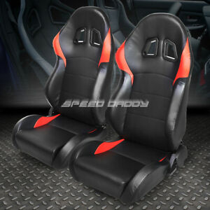 2 X Pvc Leather Red Universal Full Reclinable Glossy Sports Style Racing Seat