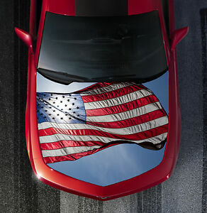 Patriotic American Flag Hood Wrap Vinyl Graphic Decal Sticker Wrap Car Or Truck
