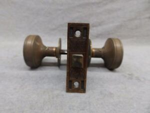 Antique Bronze Brass Door Knob Set Mortise Eastlake Old Vintage 509 17r