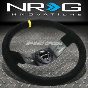 Nrg 350mm 3 Deep Dish 6 bolt Yelllow Suede Aluminum Racing Steering Wheel
