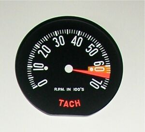 1959 New Corvette Tachometer Face High 6500 Rpm