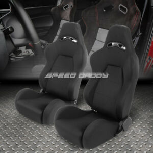 Black Stitch Woven Fabric Reclinable Sport Adjuster Racing Seat Driver Passenger