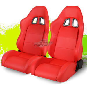 Adjustable Red Stitched Xl 06 Pvc Leather Sport Bucket Racing Seat Left Right