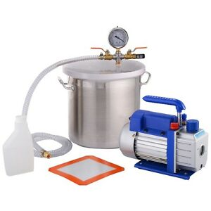 3 Gallon Vacuum Chamber And 3 Cfm Single Stage Pump Degassing Silicone Kit New