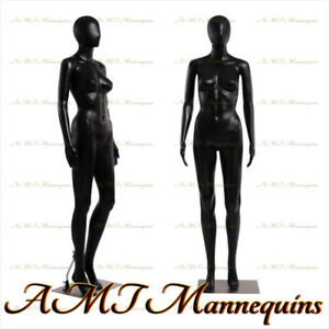 Fc 7b Female Display Mannequin Full Body Durable Black Plastic Manikin