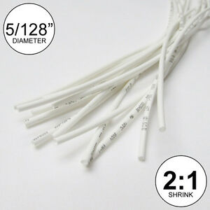 5 128 Id White Heat Shrink Tube 2 1 Ratio Wrap 14x9 10 Ft Inch feet to 1mm