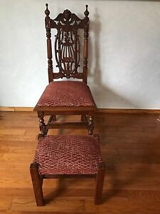 Antique French Carved Renaissance Style Desk Angel Chair Ottoman