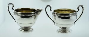Watrous Mfg Co Sterling Silver Sugar Bowl Creamer Pc60 Bead Pattern