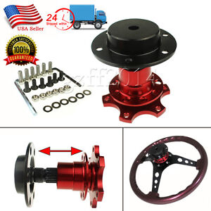 Red 6 Bolt Car Racing Steering Wheel Quick Release Hub Adapter Snap Off Boss Kit