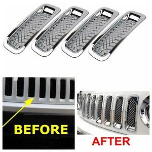 7x Chromed Front Grille Cover Insert Mesh Grill Shell For Jeep Patriot 2011 2016
