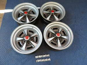 Set 4 Pontiac Rally 11 15x7 Wide Nice Repro Wheels New Rings Red Caps 7 Lugs