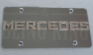 Mercedes Benz Chrome License Plate Tag W Swarovski Iced Out Crystal Emblems