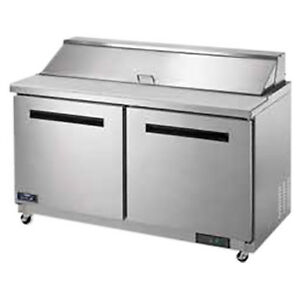 Arctic Air Ast60r Two Door Refrigerated Sandwich Prep Table Holds 16 Pans
