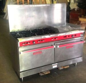 Vulcan 60 6 Burner Range W Raised 24 Griddle 2 Ovens Nat Gas