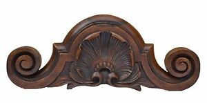 Small French Antique Hand Carved Walnut Wood Pediment Shell Louis Xv Style