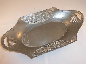 Beautiful Antique German Orivit Art Nouveau Pewter Dish