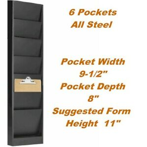 6 Pockets 9 1 2 W X 8 D Clipboard Wall Rack Model 206 Gray