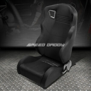 Black Woven Wide Headrest Reclinable Sport Adjuster Racing Seat Driver Left Side