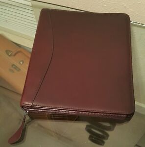 Franklin Quest Burgundy Ailine Leather Portfoliorganizer 7 Ring Binder Canada