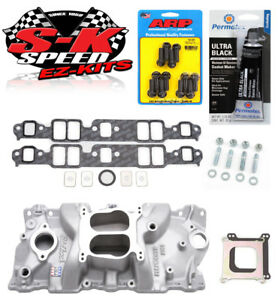 Edelbrock 2104 1987 95 Sbc Carb Performer Intake Manifold W Bolts Gaskets Rtv