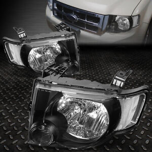 For 2008 2012 Ford Escape Suv Pair Black Housing Clear Side Headlight lamp Set