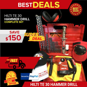 Hilti Te 30 Hammer Drill Preowned Free Survival Knife Bits Extras Fast Ship
