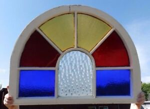 Antique Arch Top Stained Glass Window Sash Garden Shabby Vtg Chic 25x33 586 17r