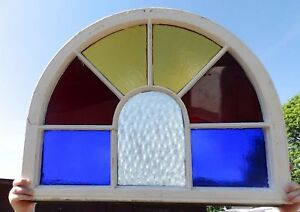 Antique Arch Top Stained Glass Window Sash Garden Shabby Vtg Chic 25x33 587 17r