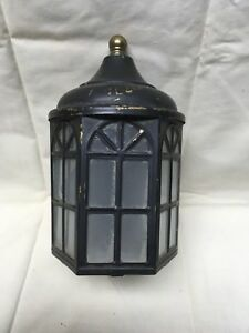 Vtg Arts Crafts Brass Porch Sconce Old Cabin Light Fixture Arch Glass 318 17e