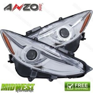 Anzo Projector Headlight White Plus Led Halo Black With Amber For 14 17 Mazda 3