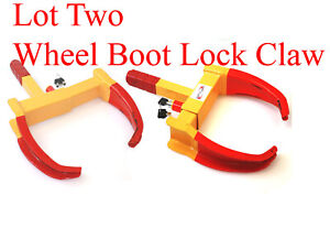 Lot 2 Wheel Lock Clamp Boot Tire Claw Trailer Car Anti Theft Towing
