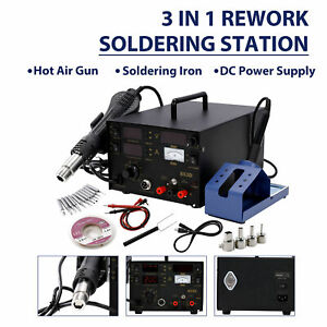 Professional Oldering Iron Hot Air Gun Smd Power Supply Solder Kit Station 3in1
