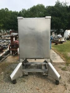 Used 350 Gallon Stainless Steel Tank Tote Has 4 Way Forklift Slots On Wheels