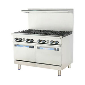 Turbo Air Tar 8 Radiance 48 Nat Gas Restaurant Range W 2 Standard Ovens