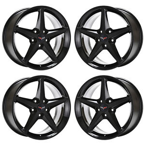 18x8 5 19x10 Corvette C6 Black Wheels Factory Oem 2011 2012 2013 Set 4 5486 5491