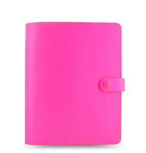 New Filofax A5 Original Organiser Planner Notebook Fluoro Pink Leather 022439