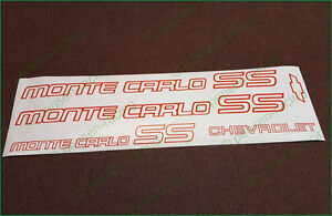 Chevrolet Monte Carlo Ss 1985 1986 Logo Premium Restoration Decals Stickers Set