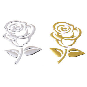 1pc 3d Reflective Rose Flower Car Sticker Art Car Styling Decal Accessories