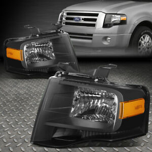 For 2007 2014 Ford Expedition Pair Black Housing Amber Side Headlight lamp Set